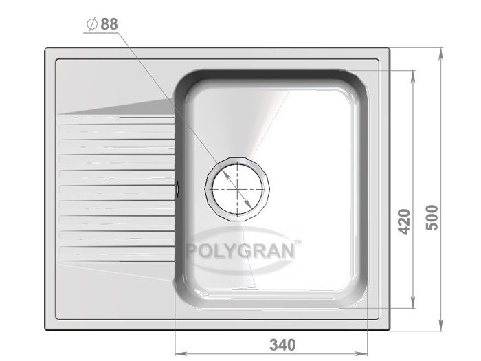 Мойка Polygran-F-07-027, цвет - Бежевый