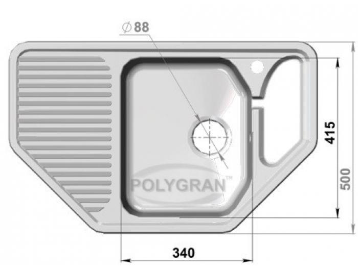 Мойка Polygran-F-10-307, цвет - Терракотовый