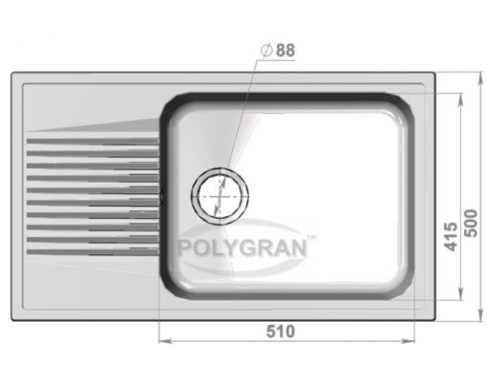 Мойка Polygran-F-19-014, цвет - Серый