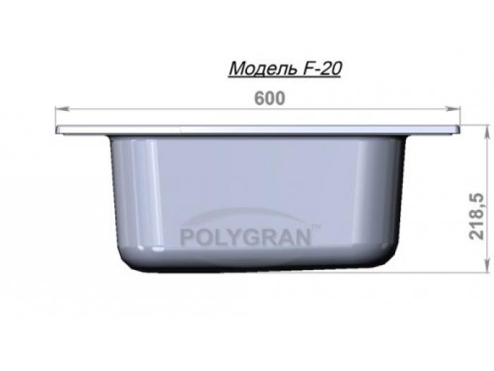 Мойка Polygran-F-20-328, цвет - Опал
