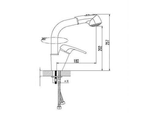 Смеситель кухонный Высокая лейка 331 хлопок