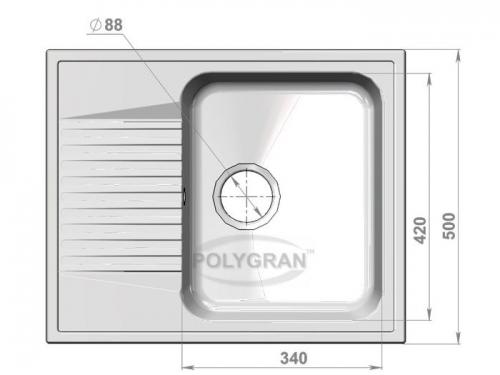 Мойка Polygran-F-07-016, цвет - Черный