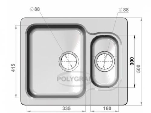 Мойка Polygran-F-09-016, цвет - Черный