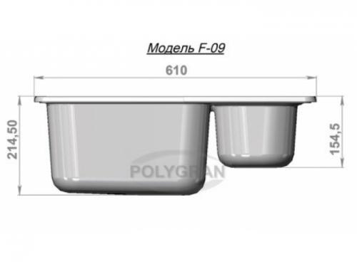Мойка Polygran-F-09-328, цвет - Опал