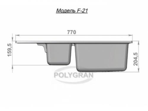 Мойка Polygran-F-21-016, цвет - Черный